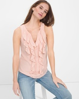 White House Black Market Pink Ruffle-Front Shell