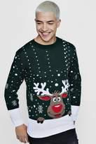 boohoo Reindeer Novelty Christmas Jumper