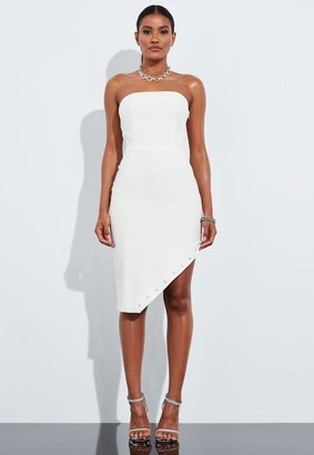 Missguided Ivory Bandeau Asymmetric Hem Mini Dress