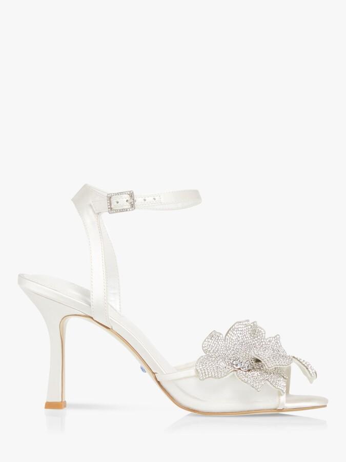 Dune Mellie Floral Motif Wedding Sandals, Ivory
