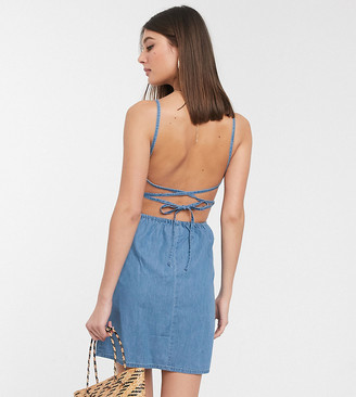 Asos DESIGN Tall soft denim slip dress in midwash blue