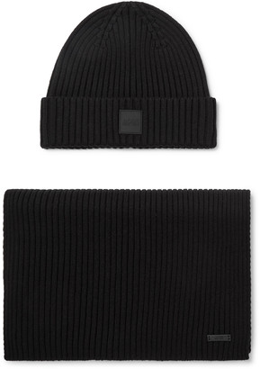 HUGO BOSS Ribbed Cotton And Wool-blend Beanie And Scarf Set - Black
