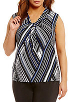 Calvin Klein Plus Striped Knotted V-Neck Matte Jersey Shell