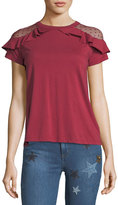 RED Valentino Cotton T-shirt w/ Ruffle-Trimmed Point d'Esprit Shoulders