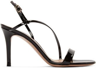 Gianvito Rossi Black Patent Manhattan Strappy 85 Sandals