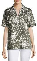 Lafayette 148 New York Damon Short-Sleeve Grove Palm-Print Stretch-Cotton Blouse, Multi