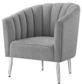 """Nicole Miller Khalid Velvet 23"""" Barrel Chair Upholstery Color: Gray, Leg Color: Chrome"""