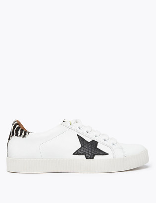 Marks and Spencer Leather Lace Up Star Print Trainers