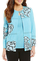 Ming Wang Embroidered Jewel Neck Jacket