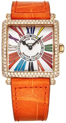Franck Muller Women's 6002 L QZ COL DR D R 5N OR 'Master Square' Silver Dial Orange Strap 18K Rose Gold Diamond Watch