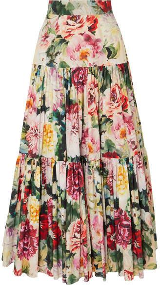 Dolce & Gabbana Tiered Ruffled Floral-print Cotton-poplin Maxi Skirt - Ivory