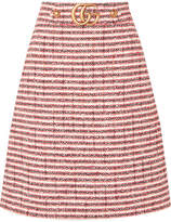 Gucci Embellished Striped Tweed Skirt - Red