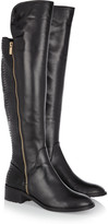 MICHAEL Michael Kors Berkley leather and patent python-effect knee boots