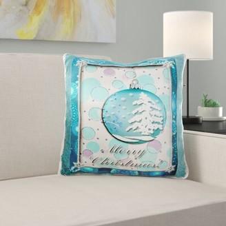 KNOTT East Urban Home Aqua Snow Tree Ornament Merry Christmas Throw Pillow Cover East Urban Home