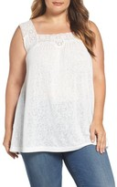 Bobeau Plus Size Women's Lace Trim Tank
