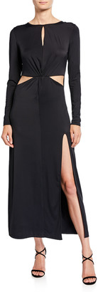 Donna Mizani Cassia Long-Sleeve Twist-Front Gown with Cutouts & Slit