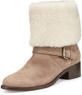 Delman Minka Fur-Cuff Moto Boot, Off White