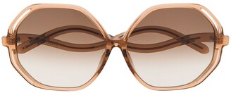 Linda Farrow Oversized Wavy Sunglasses