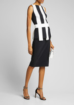 Chiara Boni Julita Sleeveless Stripe-Bodice Sheath Dress