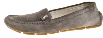 Gucci Grey Suede Leather Slip On Loafers Size 38