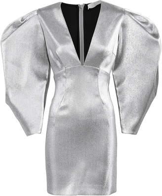 Sara Battaglia Lurex Puff Sleeve Mini Dress