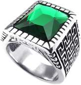 Konov Jewelry Stainless Steel Crystal Classic Gothic Signet Mens Ring