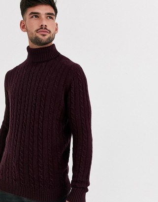 ASOS DESIGN lambswool cable knit roll neck sweater in burgundy