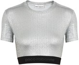 Paco Rabanne Body Silver cropped lame top