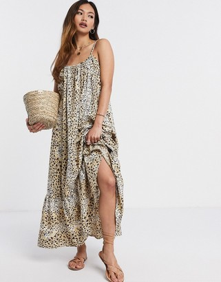 Asos DESIGN cami cotton poplin trapeze maxi dress with pep hem in leopard print