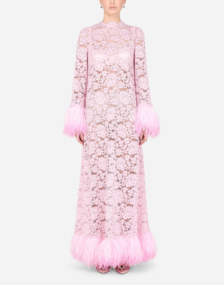 Dolce & Gabbana Lace Caftan With Marabou Trim