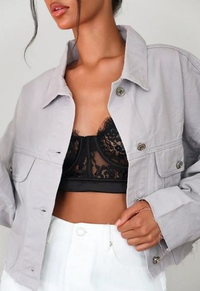 Missguided Co Ord Pleat Back Raw Hem Cropped Denim Jacket