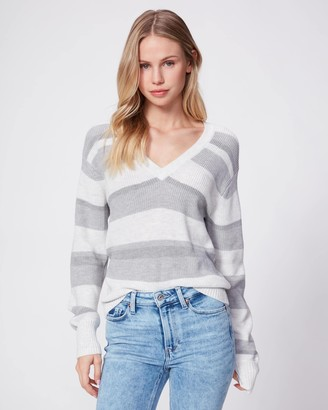Paige Negin Sweater-Marled Gray Stripe