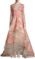 Monique Lhuillier Floral-Appliqué; Long-Sleeve Illusion Gown, Apricot/Nude