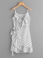 SheIn Polka Dot Wrap Self Tie Waist Frill Cami Dress