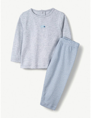 The Little White Company Hippo-embroidered cotton pyjamas 0-24 months