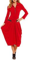 IC Collection Quarter-Zip Mockneck Dress