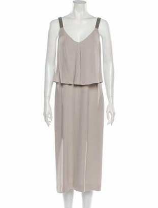 Brunello Cucinelli Silk Midi Length Dress w/ Tags Grey