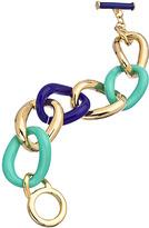 Carolee Gold Turquoise and Cobalt Blue Enamel Large Link Bracelet