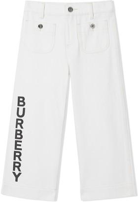BURBERRY KIDS logo print Japanese jeans