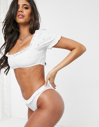 ASOS DESIGN mix and match broderie puff sleeve frill bikini top in white
