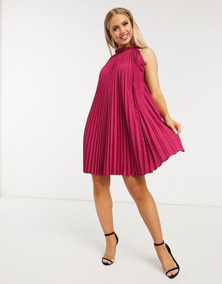 Forever U pleated swing dress in pink