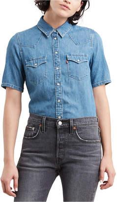 Levi's Women Ultimate Western Cotton Short-Sleeve Denim Shirt