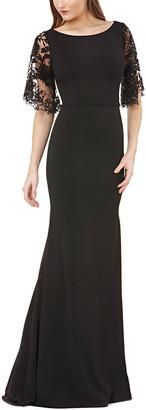 Carmen Marc Valvo Bateau Neck Illusion Back Gown