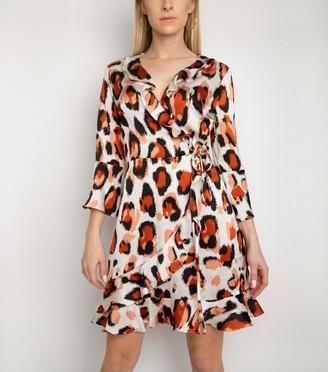 New Look Gini London Animal Print Frill Wrap Dress