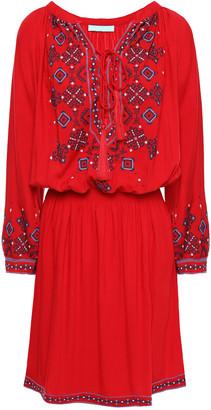 Melissa Odabash Nadja Lace-up Embroidered Gauze Mini Dress
