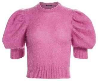 Wandering Cropped Puff-Sleeve Sweater