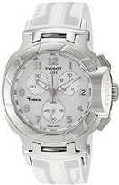 Tissot Women's 'T-Race' Swiss Quartz Stainless Steel and Rubber Sport Watch, Color:White (Model: T0484171701200)