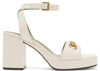 Gucci Houdan Horsebit Leather Platform Sandals - White