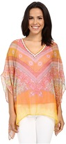 Hale Bob Hide and Go Chic Poncho Silk Blouse with Lurex