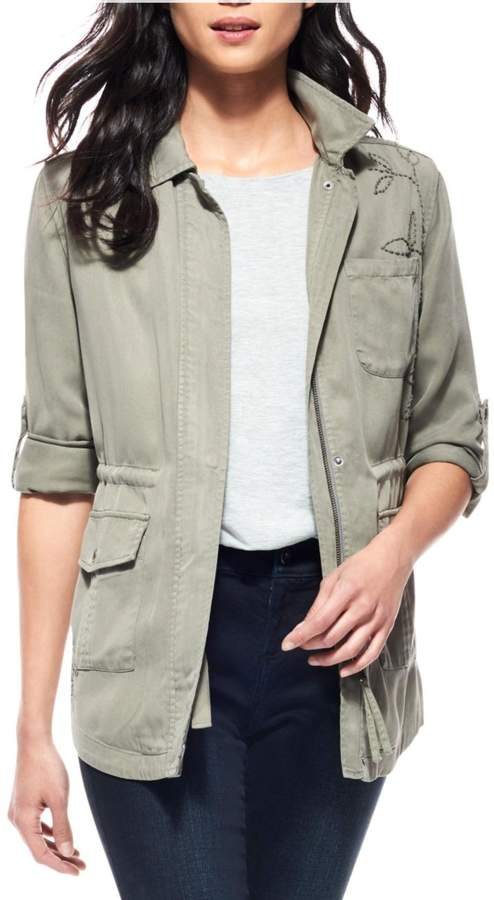 Ecru Embroidered Anorak Jacket